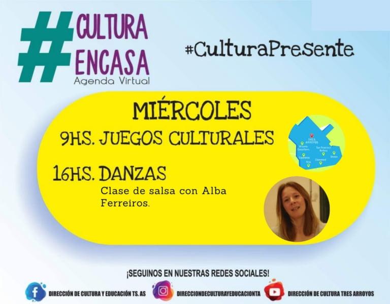 """""""Clases de Salsa"""" y """"Juegos Culturales"""" en la Agenda Virtual de este miércoles"""