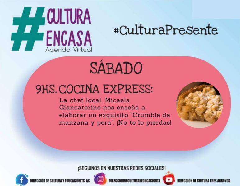 """""""Cocina Express"""" en la Agenda Cultural Virtual de este sábado"""