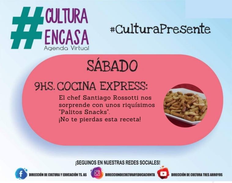 """""""Cocina Express"""" en Agenda Cultural Virtual de este sábado"""