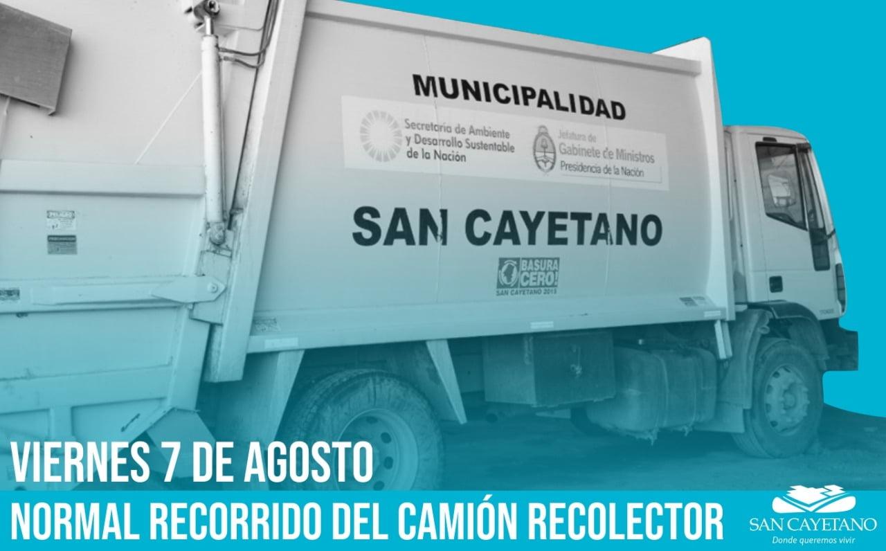 El viernes habrá recolección de residuos con normalidad en San Cayetano