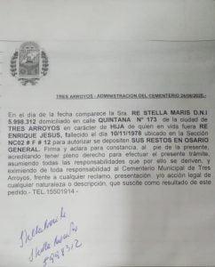 El Municipio aportó documentación en torno al reclamo por un nicho retirado