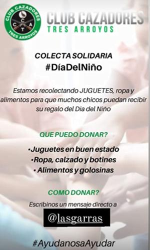 """""""Las Garras"""" realizan colecta solidaria por el Día del Niño"""