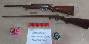 Dos orensanos aprehendidos por portar armas de fuego en zona rural