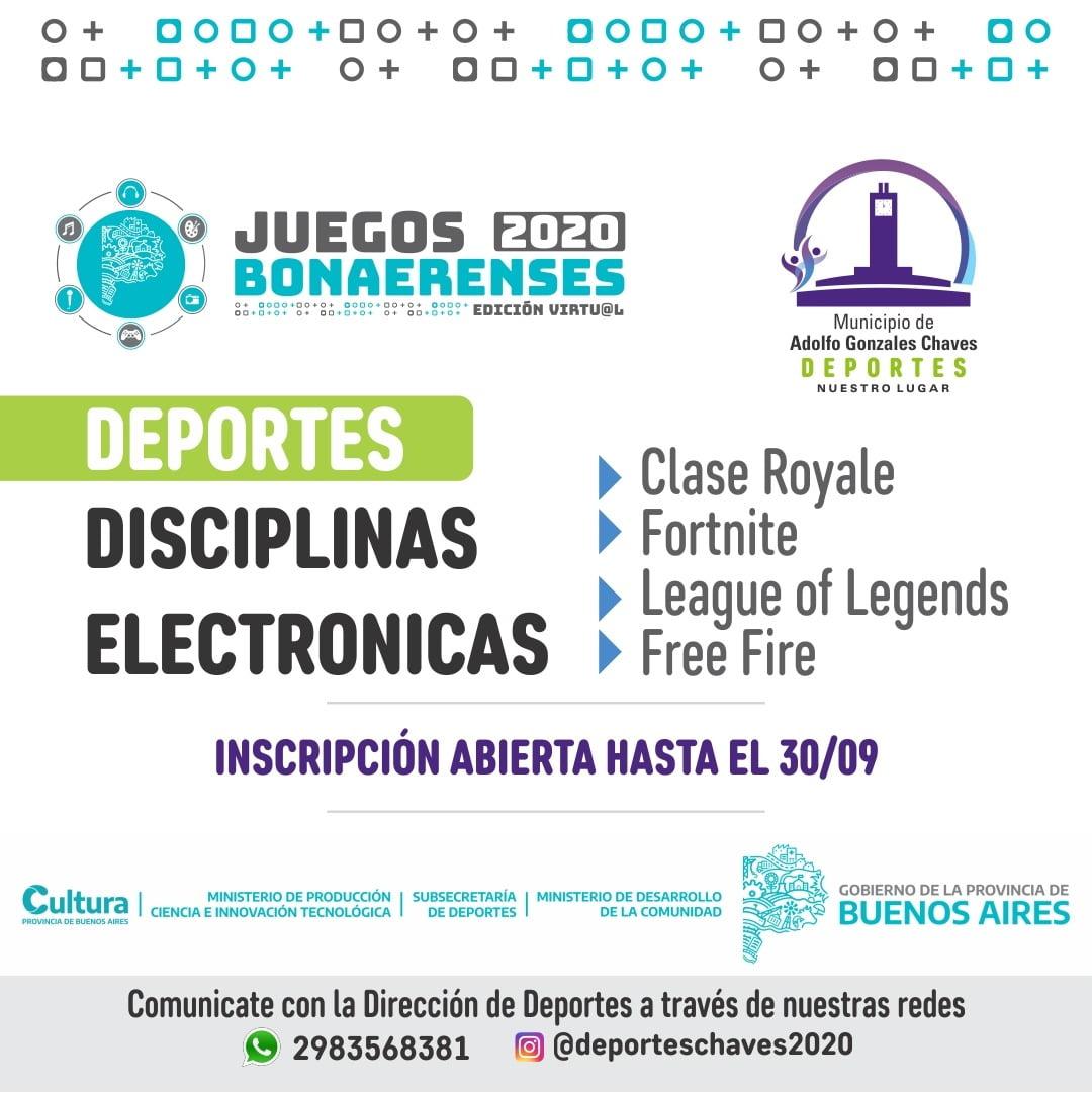 Chaves: abren inscripción a los Juegos Bonaerenses virtuales