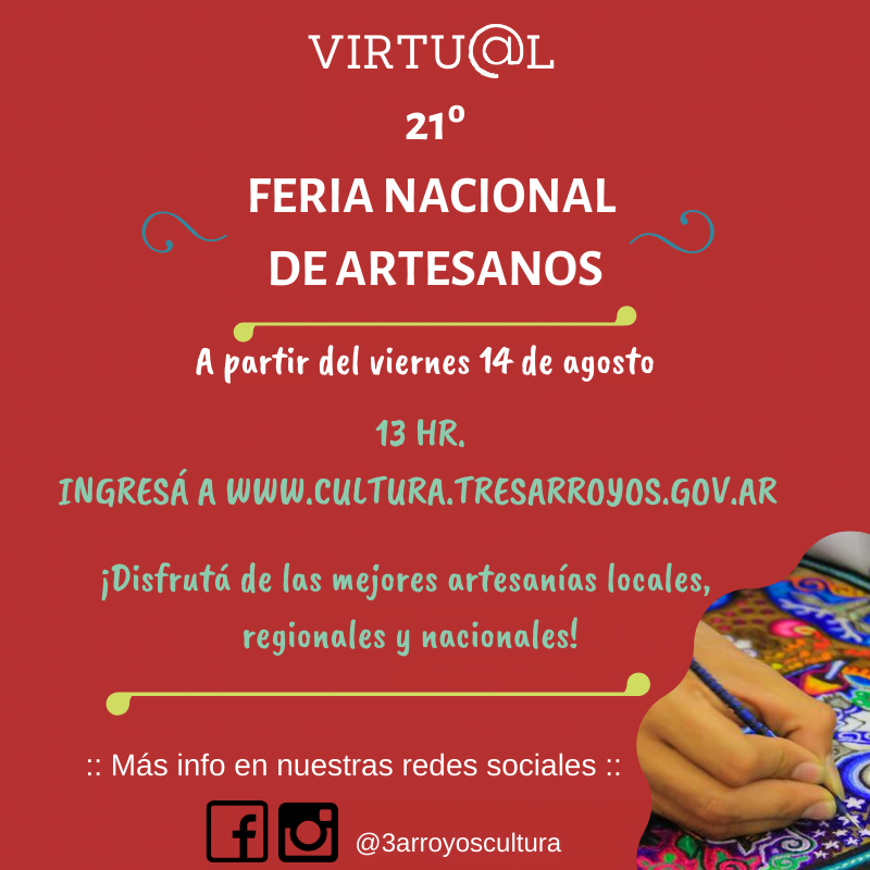 A buen ritmo se desarrolla la 21° Feria Nacional de Artesanos Virtual