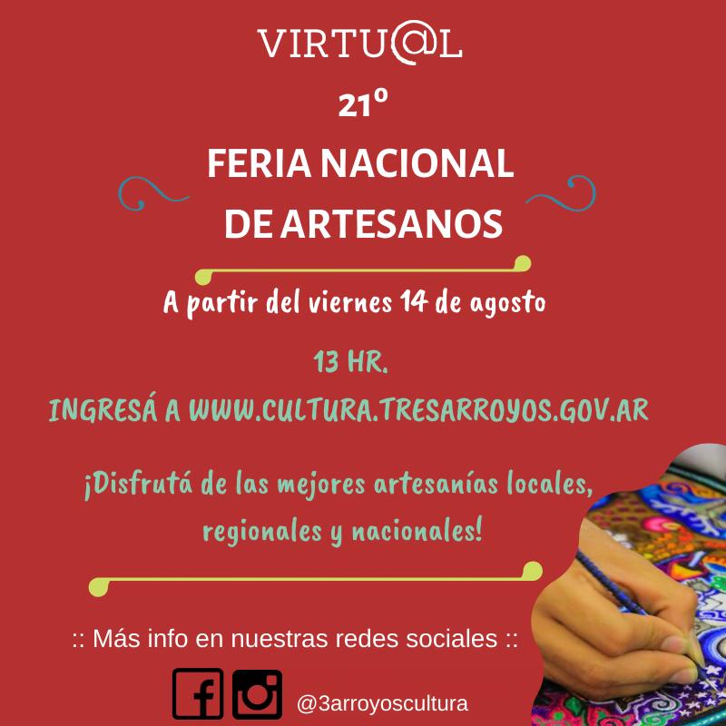 Comienza la 21º Feria Nacional de Artesanos Virtual
