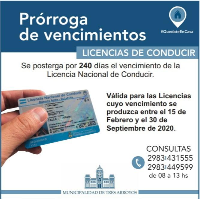 Prórroga de vencimientos de licencias de conducir