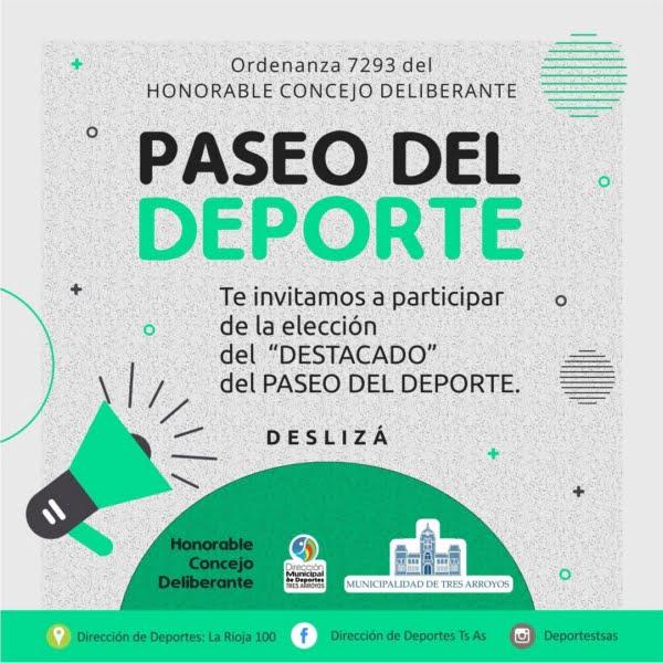 Invitan a proponer nombres para el Paseo del Deporte del Polideportivo