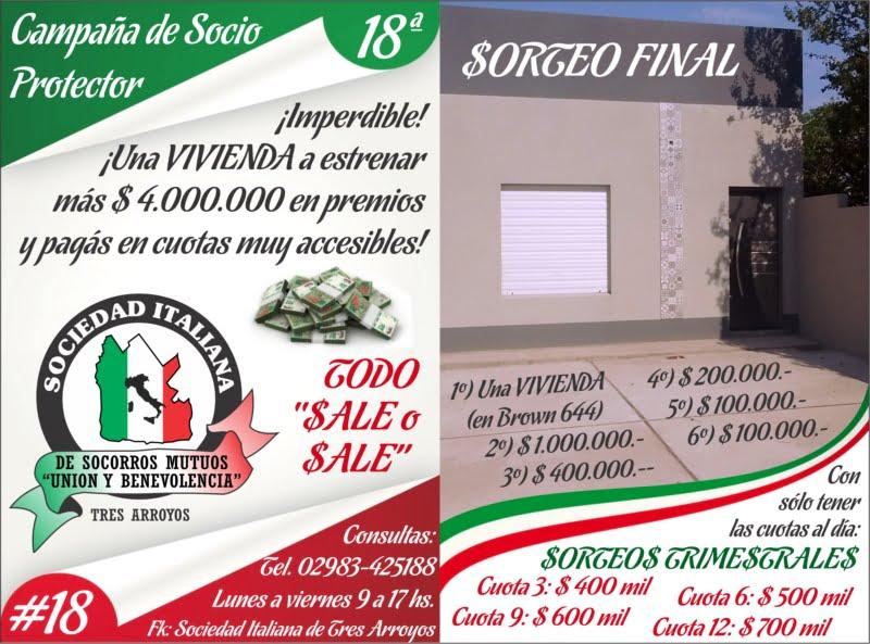 La Sociedad Italiana vendió 1800 rifas en tan solo 45 días