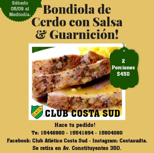 Costa Sud venderá bondiola de cerdo con salsa y guarnición