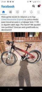Robaron una bicicleta en el Barrio Chacra de López