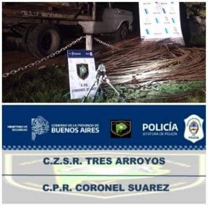 Suárez: tres aprehendidos al intentar robar más de 200 metros de cables de teléfono