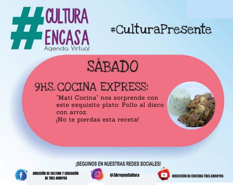 Cocina express en la agenda cultural virtual para este sábado