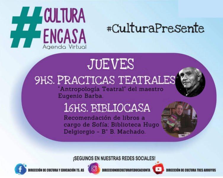 Agenda Cultural Virtual: Este jueves, Prácticas teatrales y Bibliocasa