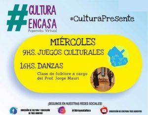 Juegos culturales y Clase de Folklore en la Agenda Virtual del miércoles