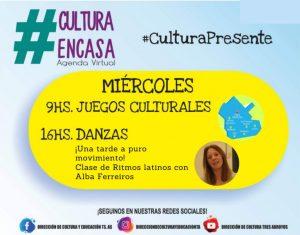 Juegos culturales y ritmos latinos en la Agenda Virtual de este miércoles