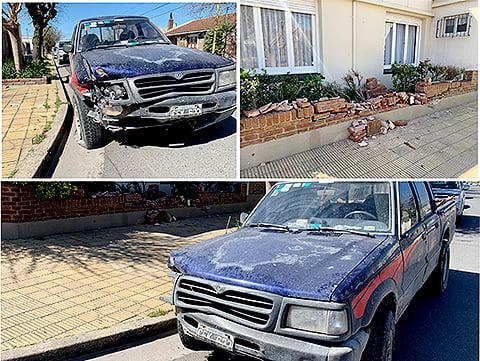 Camioneta se incrustó contra un cantero del frente de una vivienda