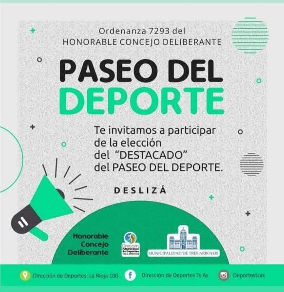 """Convocan a participar de la elección del """"Destacado"""" del Paseo del Deporte"""