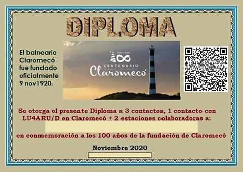Radioaficionados: Diploma por el Centenario de Claromecó