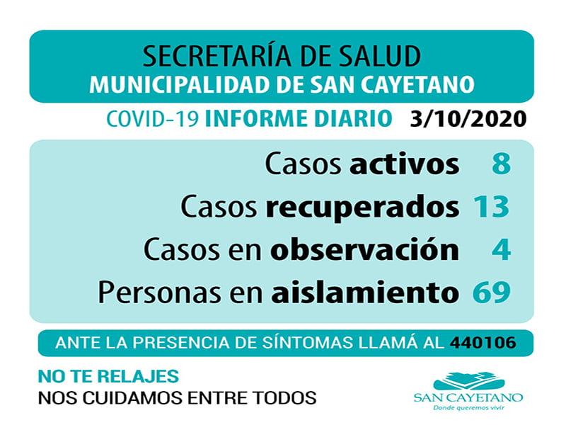 Nuevo caso positivo a coronavirus en San Cayetano