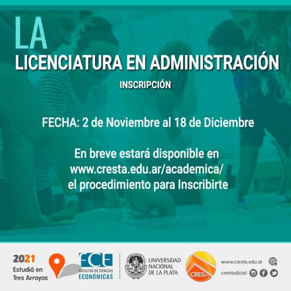 CRESTA: inscripción para la carrera Licenciatura en Administración