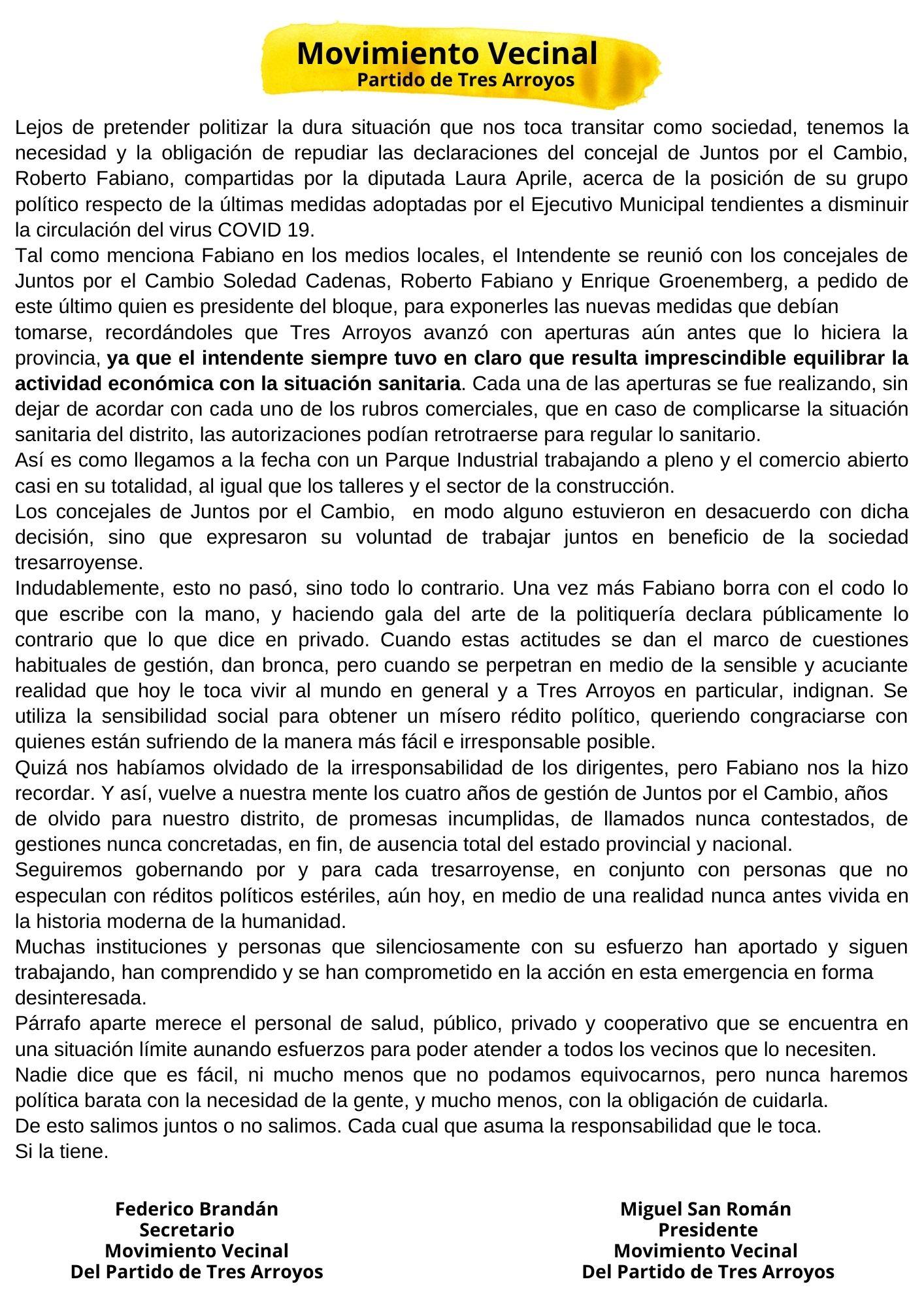 Duro el Movimiento Vecinal contra Laura Aprile y Fabiano
