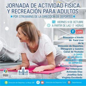 Jornada de actividad física y recreación para adultos a través de streaming