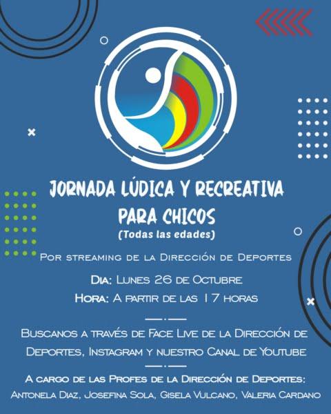 Deportes organiza una Jornada Especial Lúdica y Recreativa online para chicos