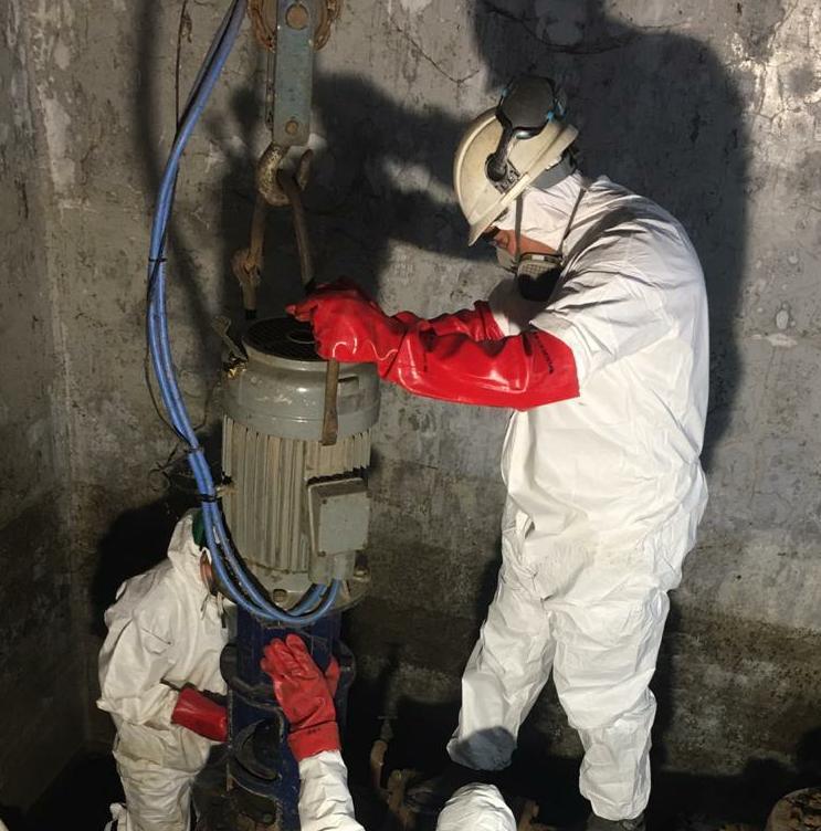 Trabajos de mantenimiento en la Planta Depuradora de Chaves