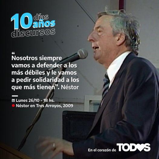Homenaje virtual a Néstor Kirchner: incluyeron discurso en Tres Arroyos (video)