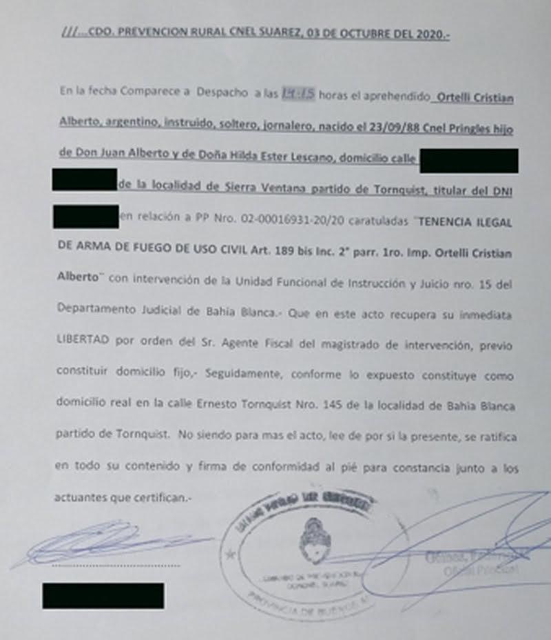 Recuperó la libertad el aprehendido por abigeato en Suárez