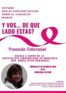 Charla virtual en el mes de concientización sobre el cáncer de mama