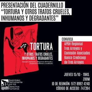 La APDH local presentará por Zoom un cuadernillo sobre tortura diseñado en Tres Arroyos