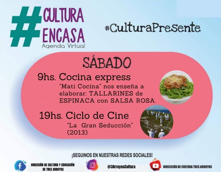 Cocina express y Ciclo de Cine en la Agenda Cultural Virtual del sábado