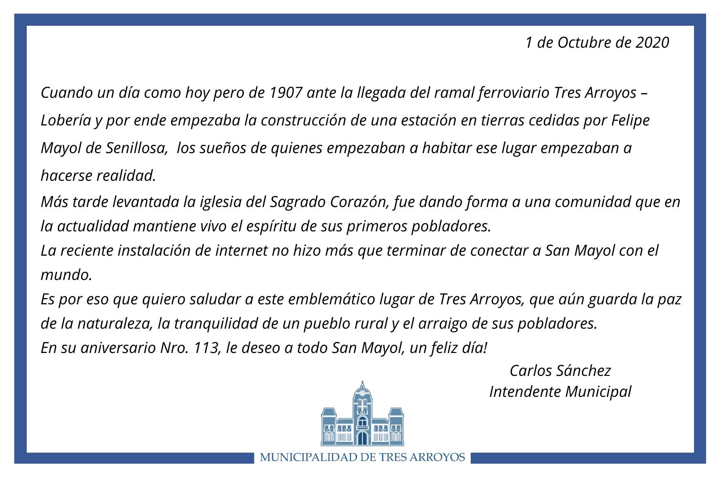 Salutación del intendente por el aniversario 113 de San Mayol