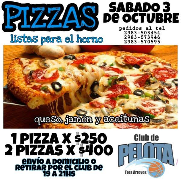 Pizzas listas para el horno de Club de Pelota