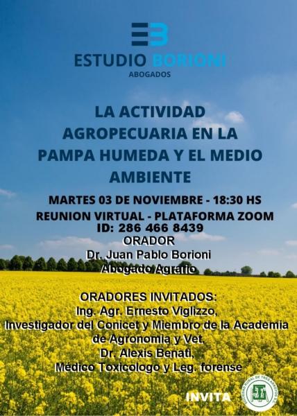 """Realizarán charla sobre """"La actividad agropecuaria en la Pampa Húmeda y el medio ambiente"""""""
