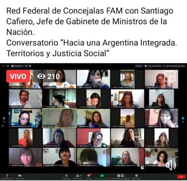 Tatiana Lescano en la reunión virtual de Cafiero con la Red de Concejalas de la FAM