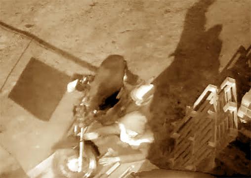 Audaz robo de una moto a través de un paredón (video)