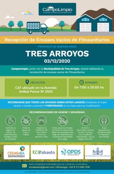 Segunda campaña de recepción de envases fitosanitarios en el Centro de Acopio Transitorio