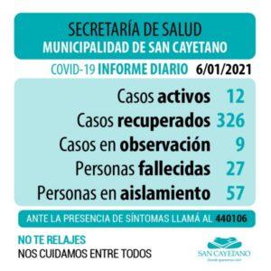 San Cayetano: se recibieron cuatro resultados negativos a Covid-19