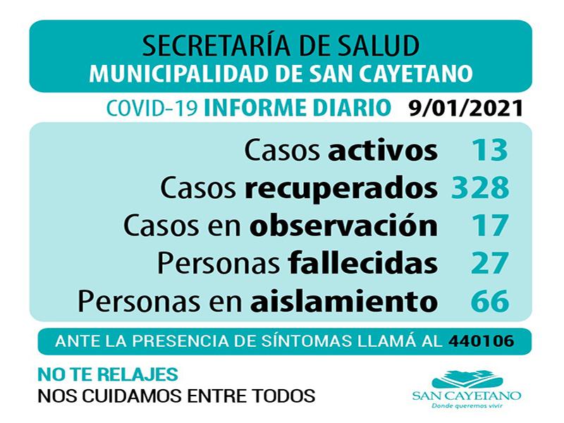 COVID en San Cayetano: 13 casos activos y 17 en observación