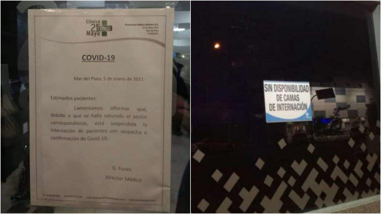 Dos clínicas privadas de Mar del Plata suspendieron la internación de pacientes con coronavirus