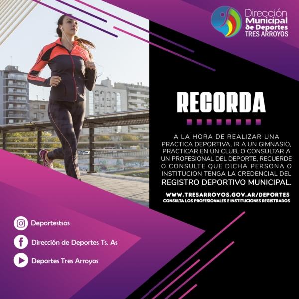 Deportes: recomiendan consultar el registro deportivo municipal