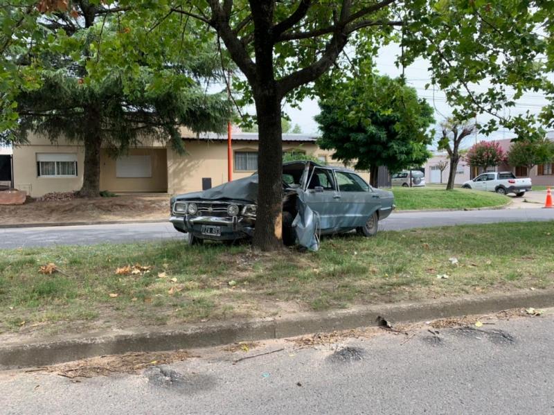 Siniestro vial: le explotó un neumático y terminó contra un árbol