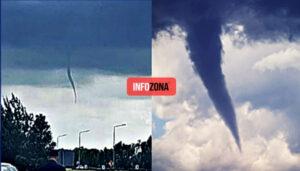 Ruta 2: Una nube embudo sorprendió a los automovilistas pero afortunadamente no tocó tierra