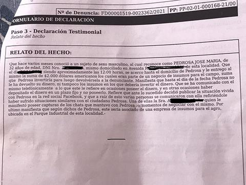 """Denunció penalmente al joven que la acusa de escracharlo: """"me debe 2000 dólares"""""""