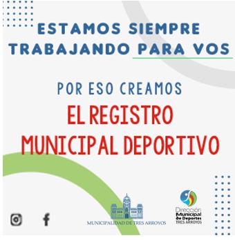 Continúan abiertas las inscripciones al Registro Municipal  Deportivo
