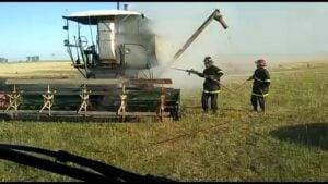 En De La Garma se incendió una cosechadora