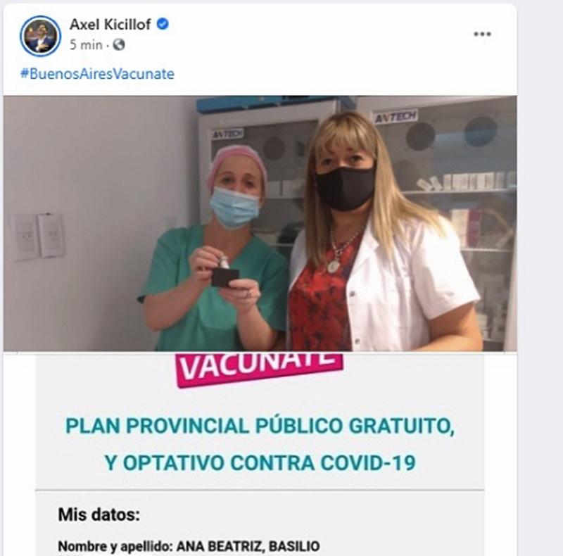 La vacunación en Tres Arroyos en el Twitter de Kicillof